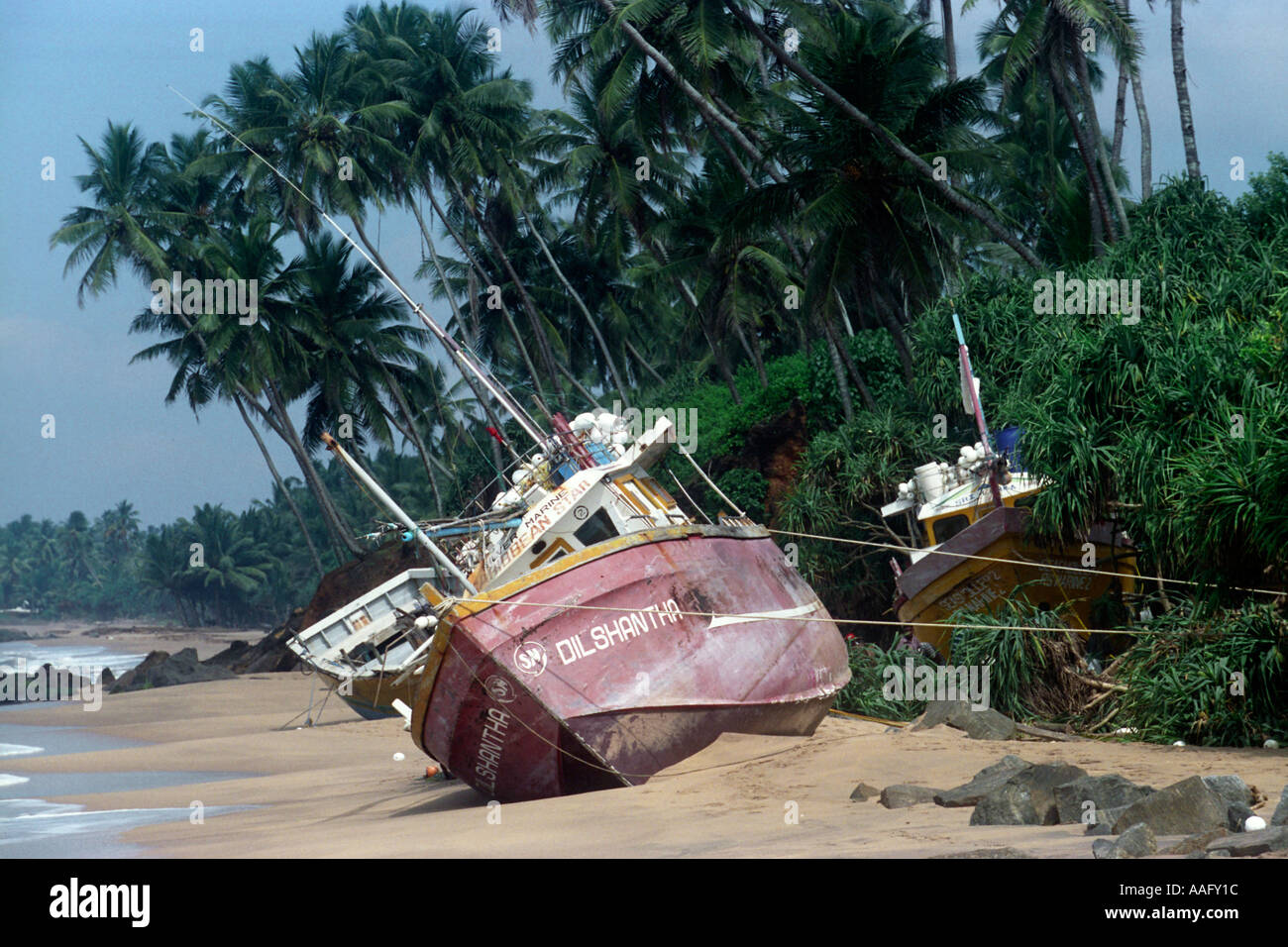 Images from the aftermath of the boxing day tsunami in Sri Lanka on the Indian Ocean, 2004 - Stock Image