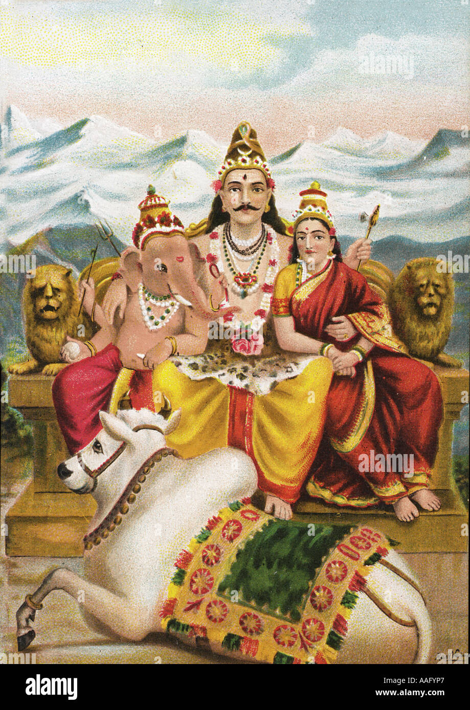 DDR78509 Lord Shankar Shiva with his son Ganesh and wife Parvati with his vehicle Nandi - Stock Image