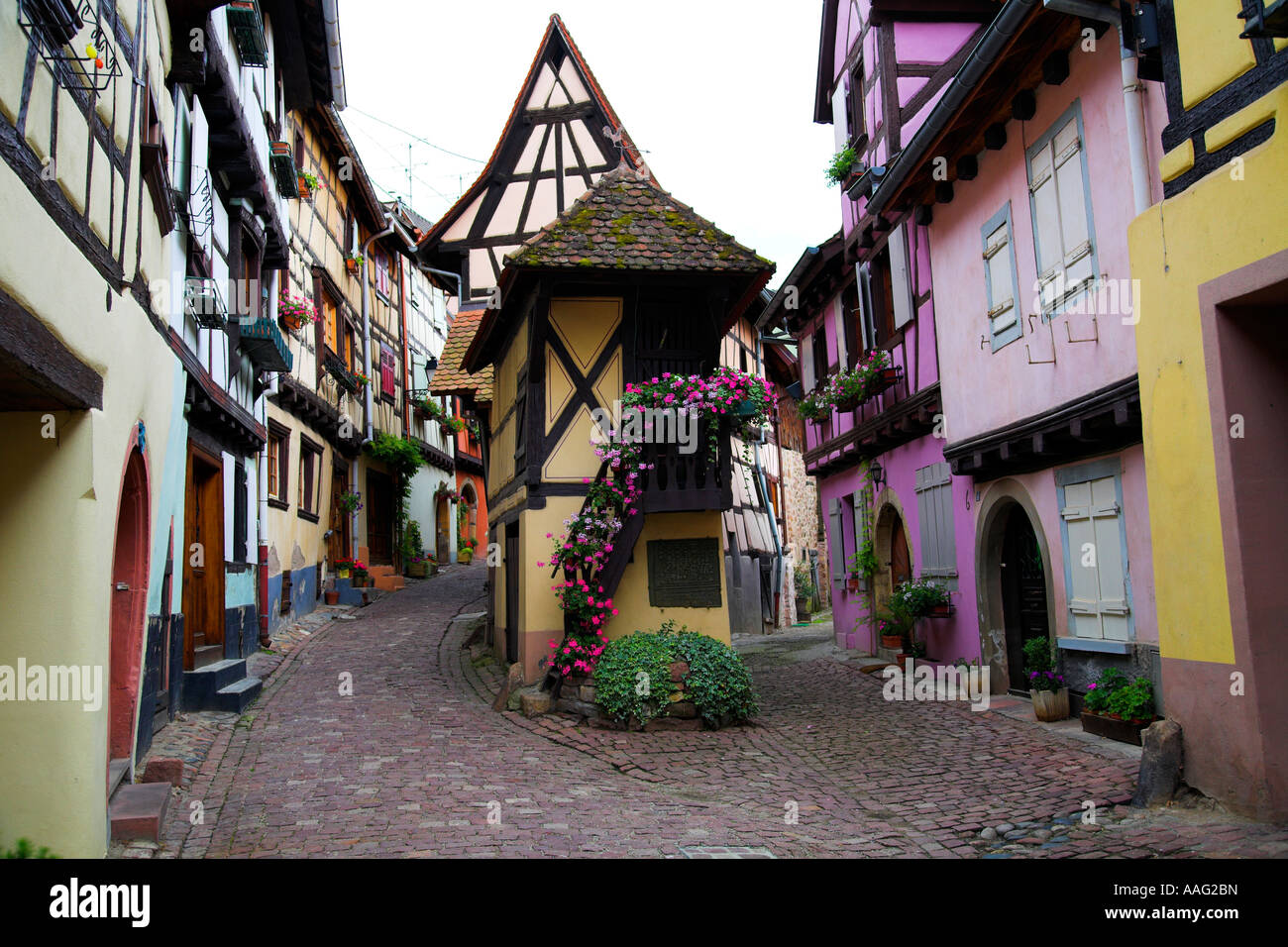 Picturesque cobbled street in Eguisheim  in the Alsace region of north eastern France, Europe Stock Photo