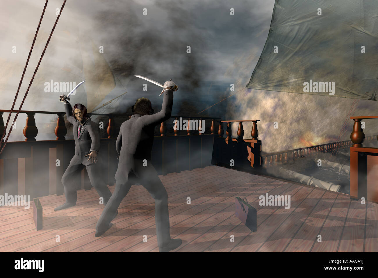 Business men fighting aboard ship. - Stock Image
