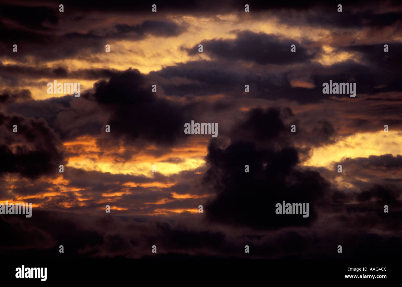 Spectacular cloud formations at sunset Amantani island Lake Titicaca Peru South America - Stock Image