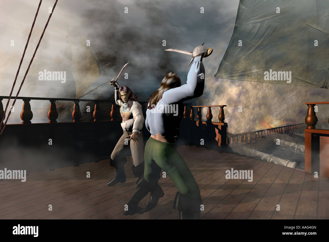 Pirates fighting aboard ship. - Stock Image