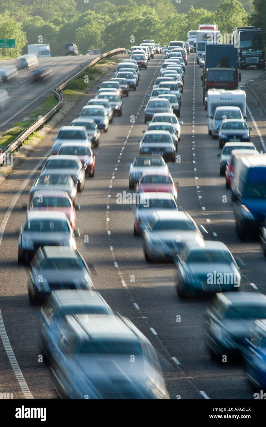 Traffic jam on dual carriageway A3 Surrey UK - Stock Image
