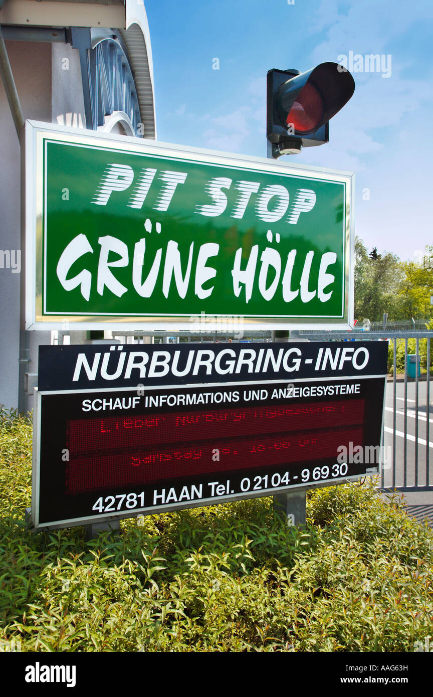 Information signs at the public access entrance to the Nurburgring Germany Europe - Stock Image