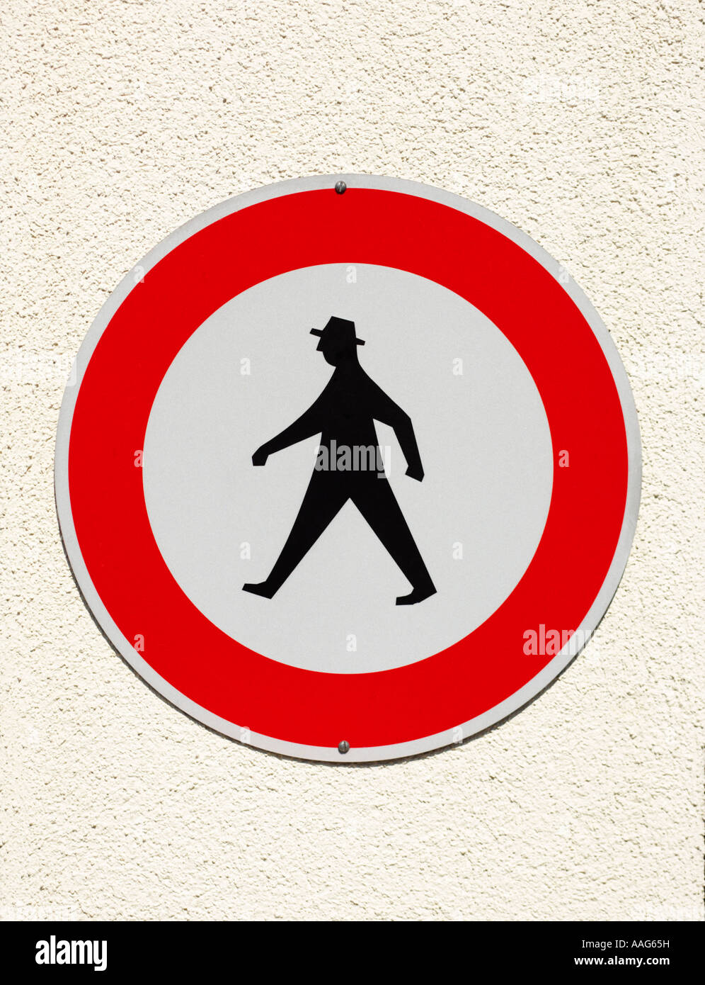 German pedestrian no walking sign, Germany, Europe - showing the iconic design - Stock Image
