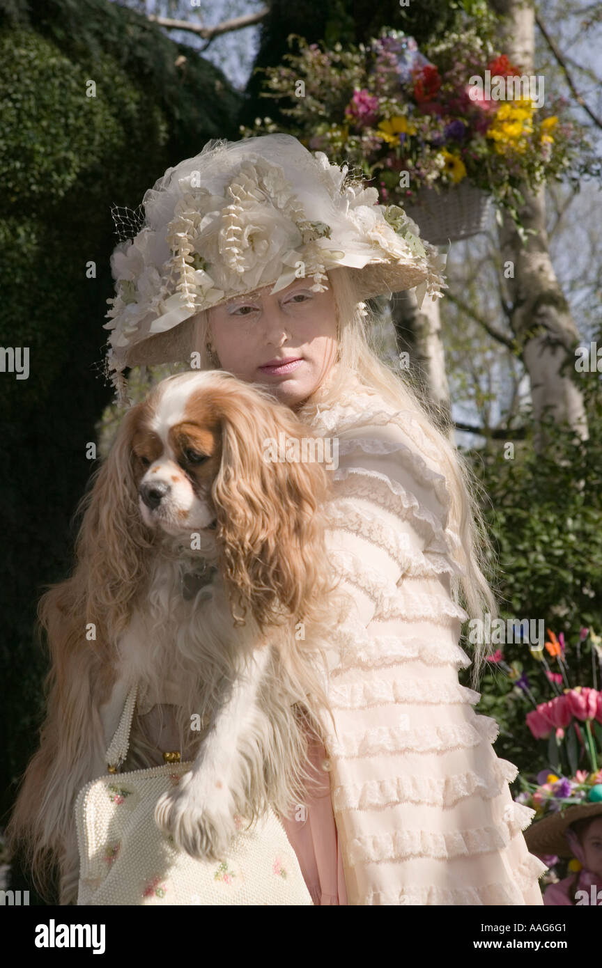 Contestant and dog in the Easter Bonnet contest at the Tavern on the Park in Central Park in New York City USA April Stock Photo