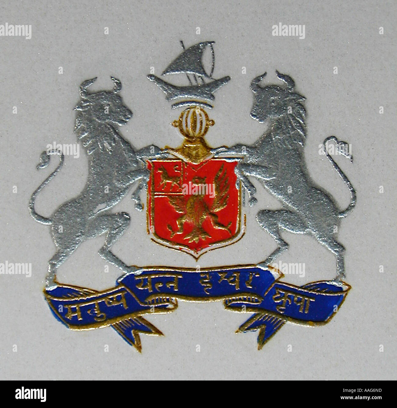 DDR78353 Coat of Arms Early 20th century ship animal Bhavnagar Saurashtra Gujarat India - Stock Image