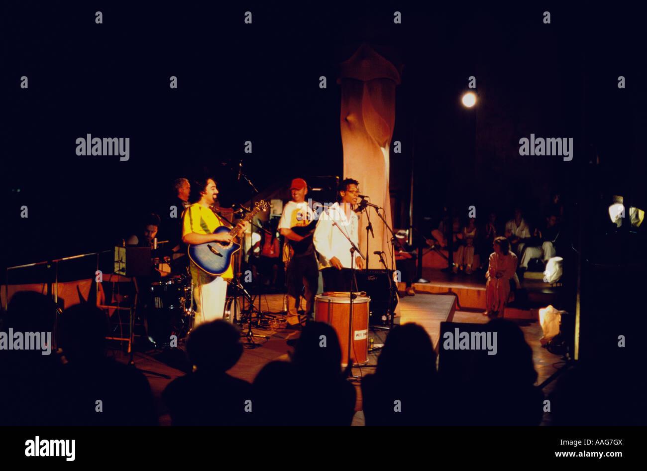 Summer concert at the roof of Casa Mila A Gaudi La Pedrera Barcelona Catalonia Spain Stock Photo