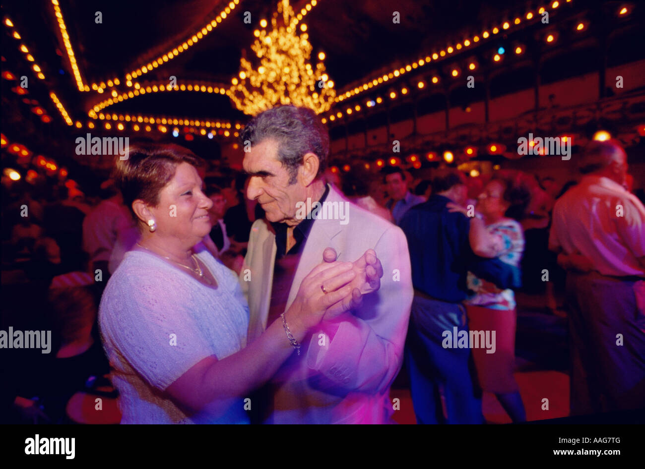 Older couples are dancing Cha Cha at the Paloma Club in Raval Barcelona Catalonia Spain Stock Photo