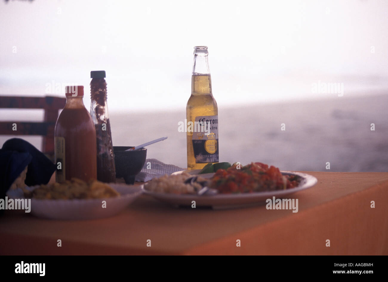 Mexican food served in a beach restaurant Playa Azui Michoacan Mexico - Stock Image