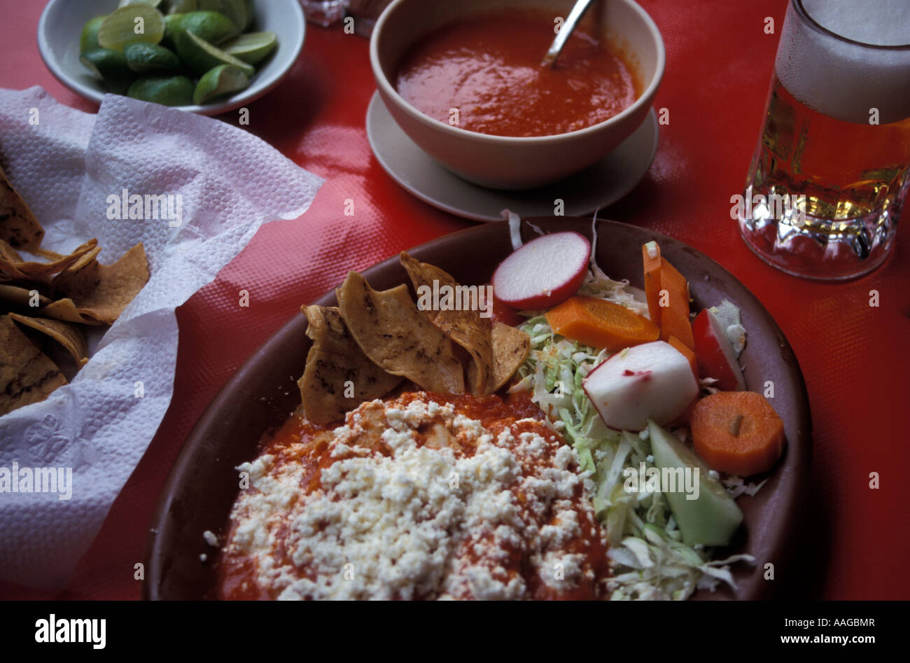 Enchiladas con Queso served in a restaurant Acapulco de Juárez Guerrero Mexico - Stock Image