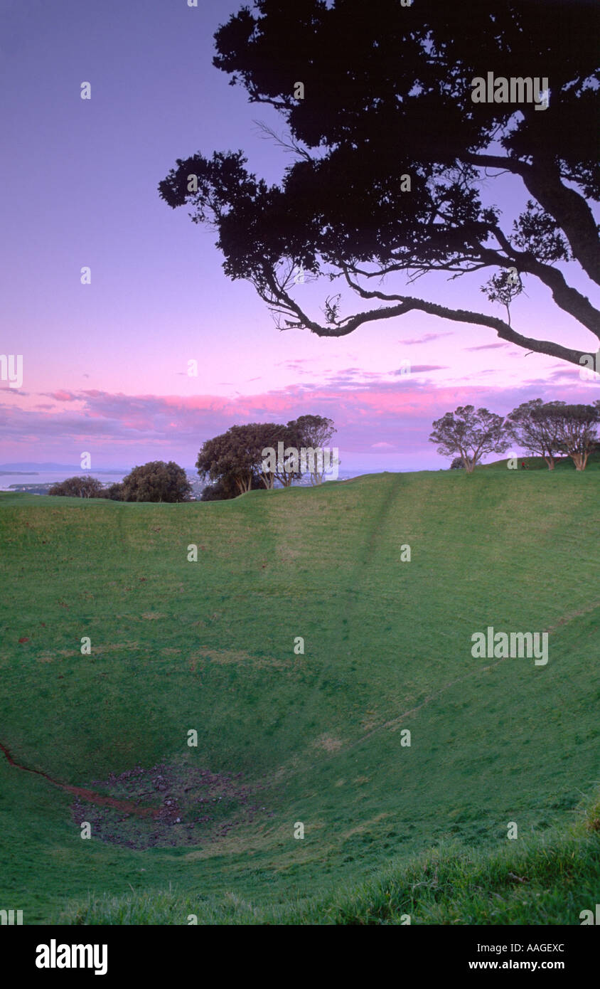 Mt Eden at Dawn Auckland North Island New Zealand - Stock Image