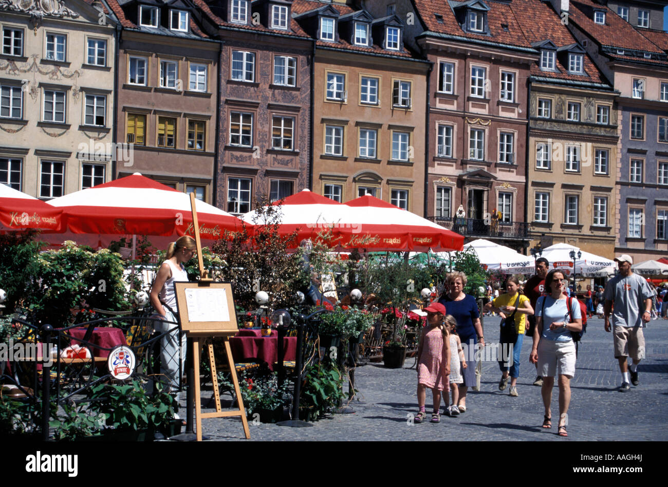 Restaurants at Old Town Market Castle Sice Warsaw Masovian Poland Stock Photo