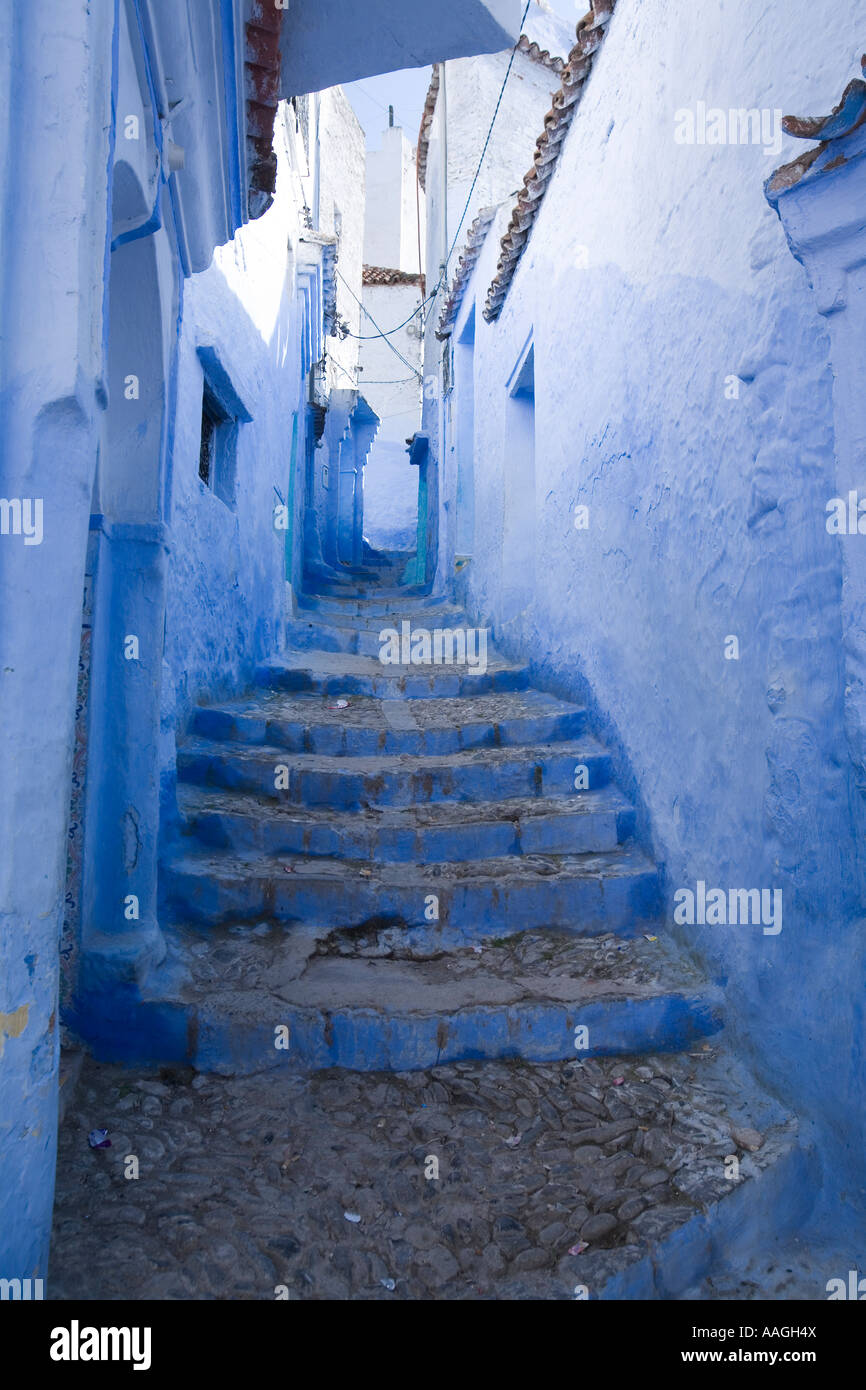 Typical Blue Sreet in Chefchaouen Morocco Africa - Stock Image