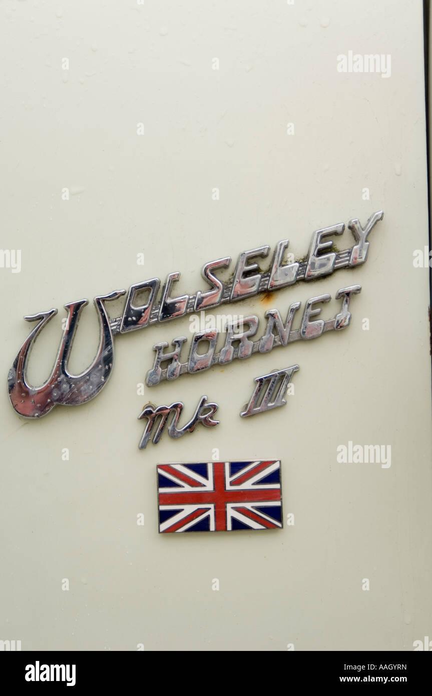 Wolseley Hornet Mk III logo badge with small British union jack flag - Stock Image