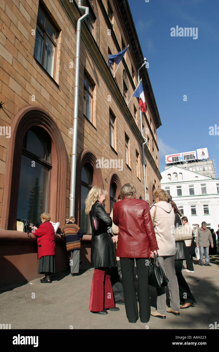 Belarusians in Minsk at the French embassy seeking visas - Stock Image