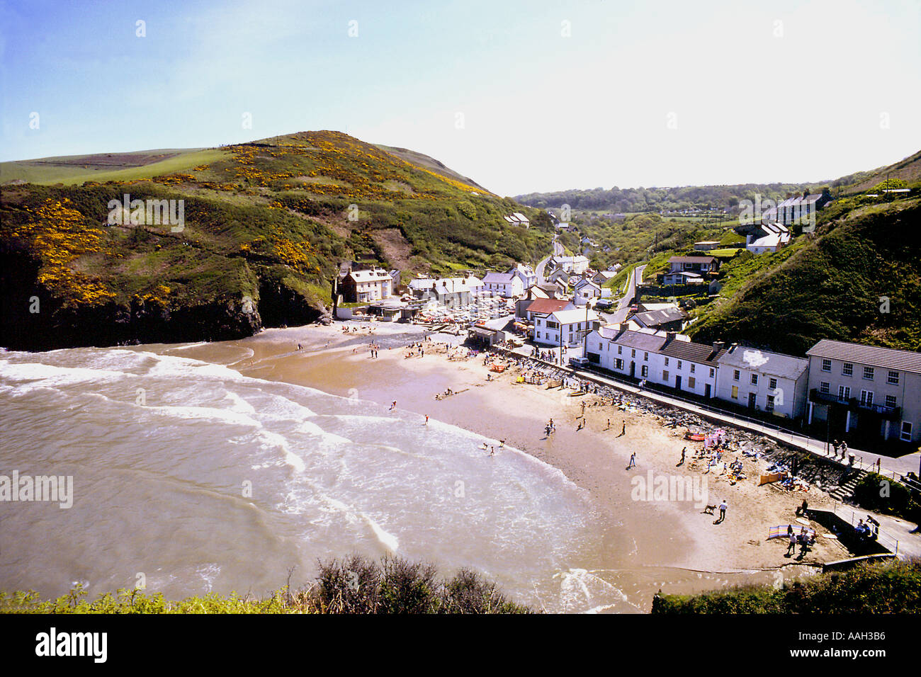 View of the beach at Llangrannog Cardiganshire Mid Wales - Stock Image