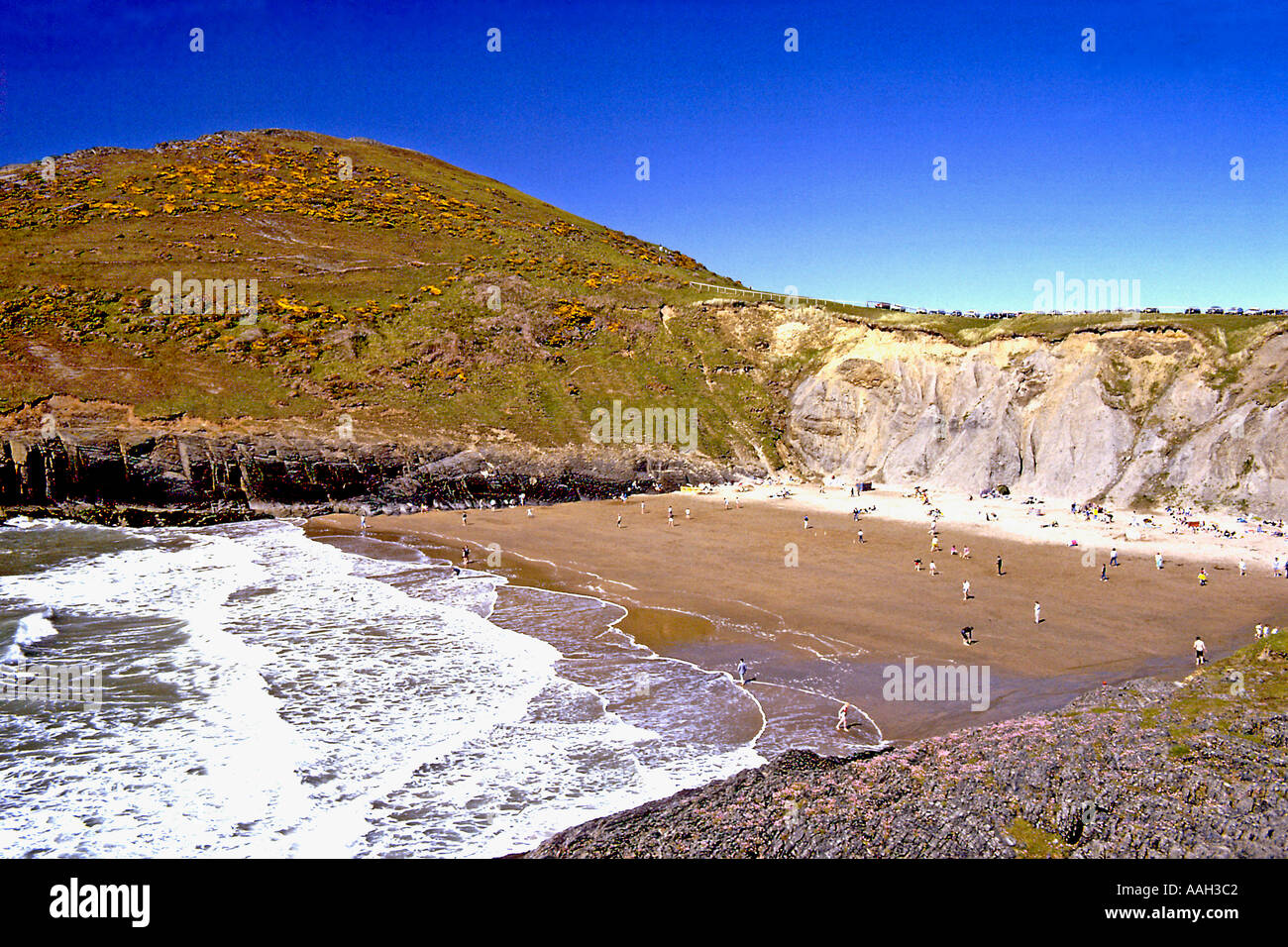 View of the beach at Mwnt Cardiganshire Mid Wales - Stock Image