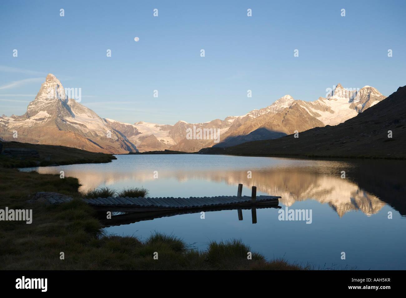 Matterhorn 4478 m reflected in Stellisee 2573 m Zermatt Valais Switzerland Stock Photo