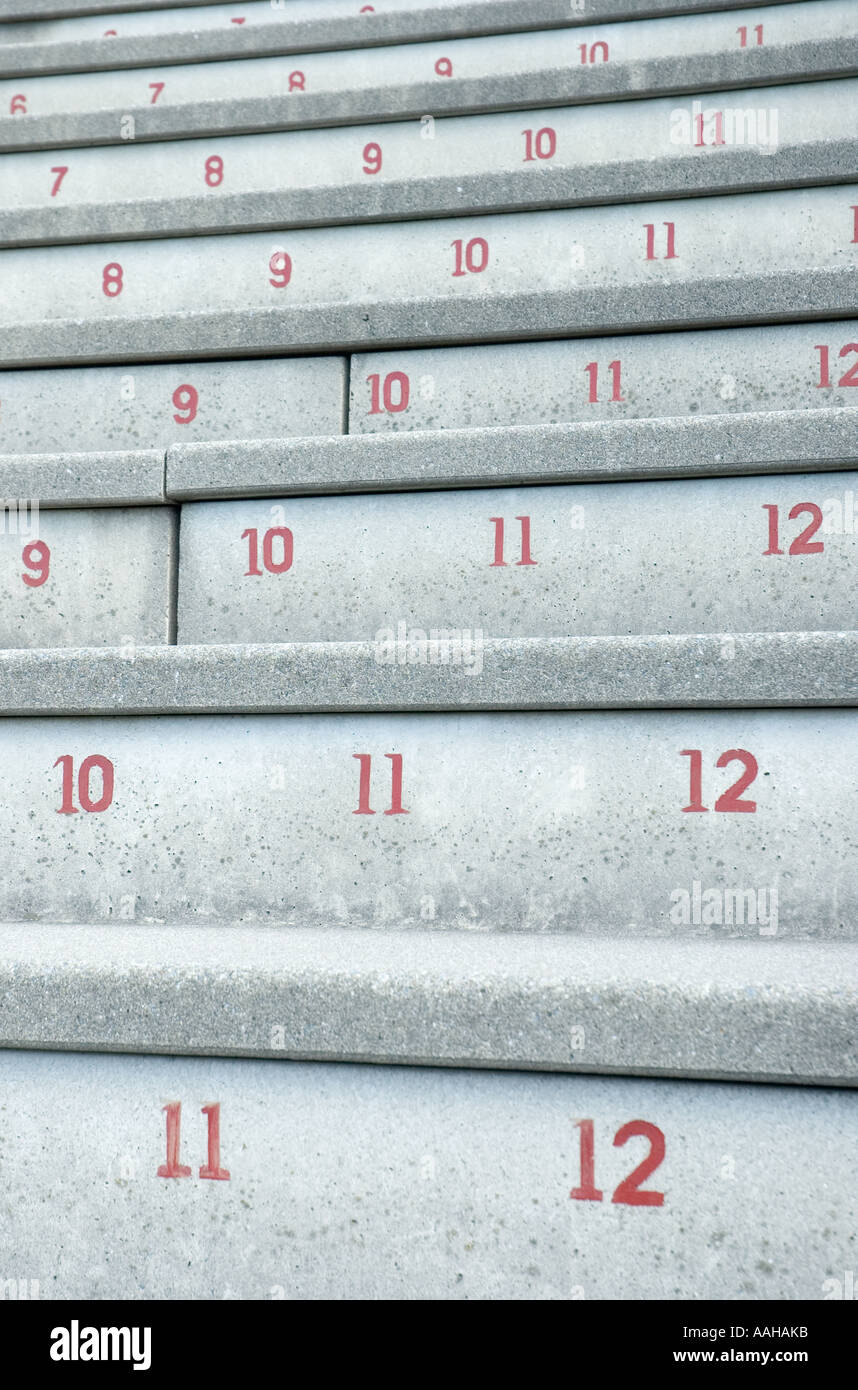 seating numbers from harvard stadium, harvard university, cambridge, massachusetts - Stock Image
