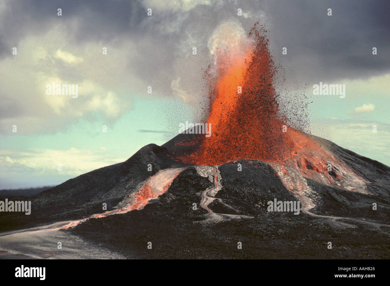 Pu'u O'o volcano eruption Hawaii Volcanoes National Park Island of Hawaii. - Stock Image