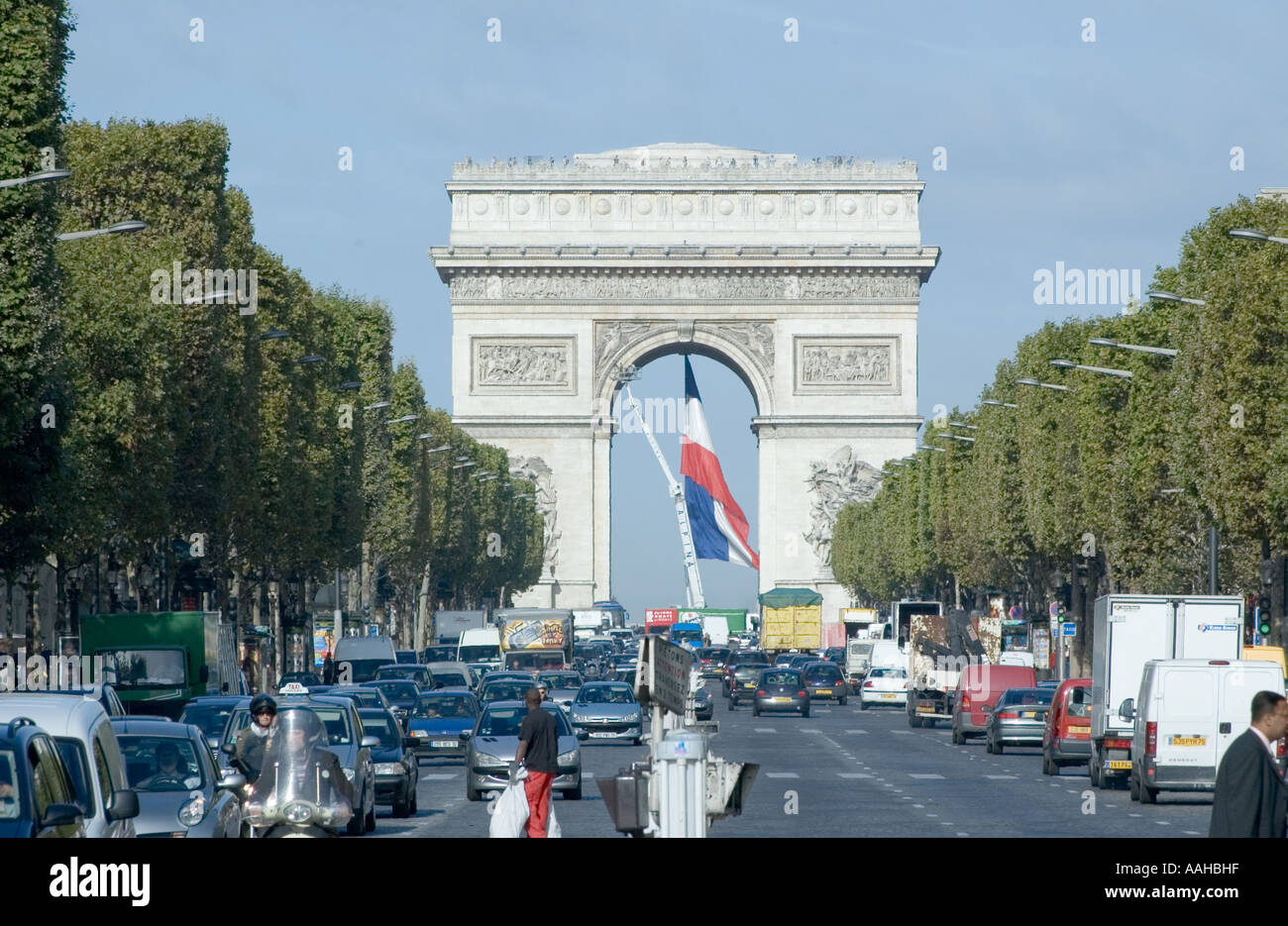 The Arc de Triomphe on the Champs-Élysées in Paris, France - Stock Image