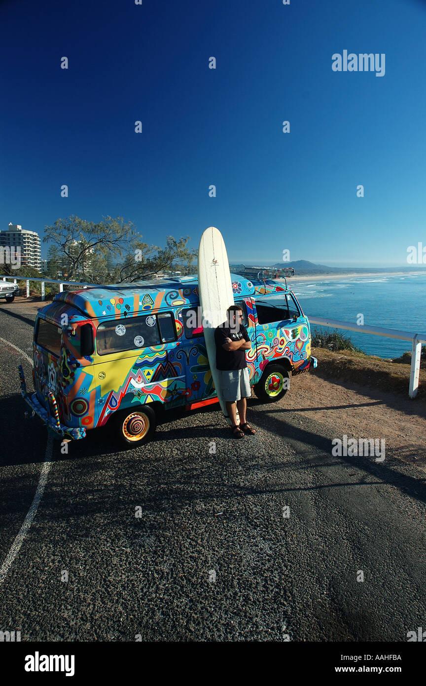 Ultimate escape machine on surfing safari VW Kombi Van dsc 1616 - Stock Image