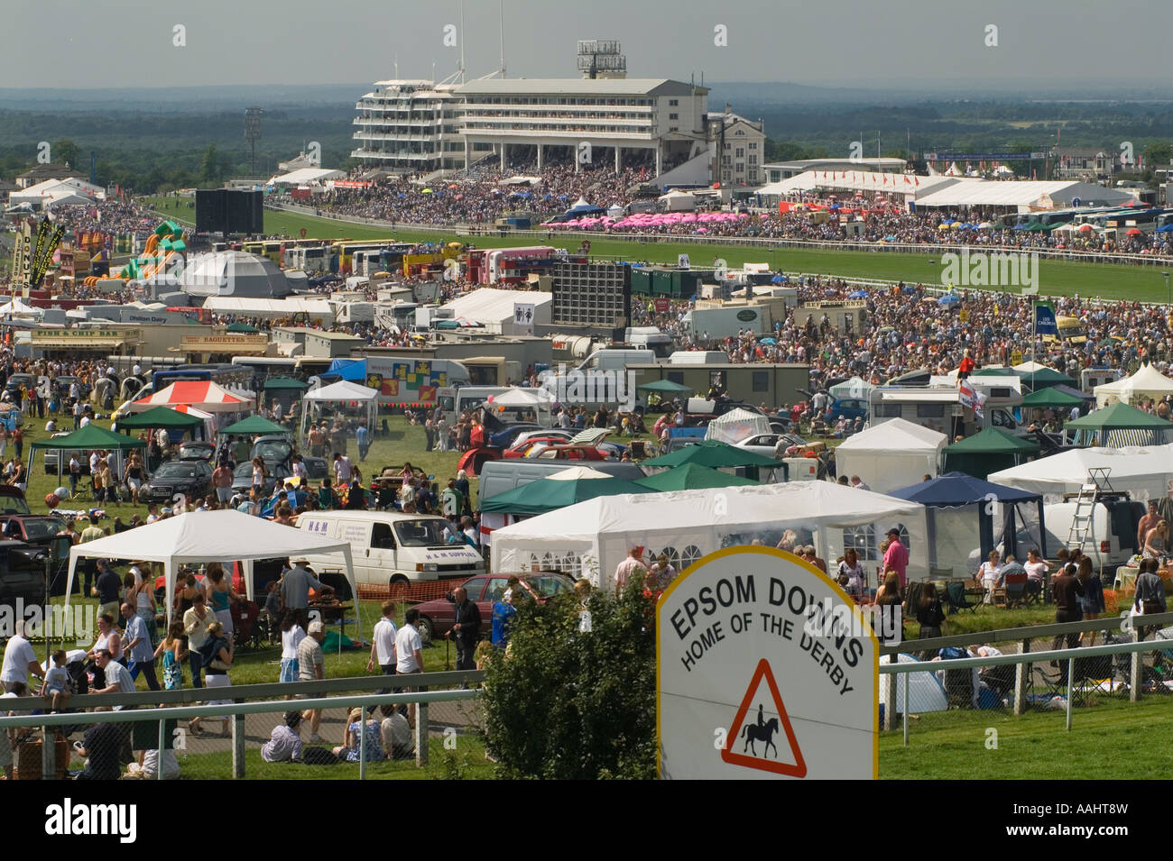 Derby Day Horse Racing Epsom Downs Surrey England  General view from The Hill - Stock Image