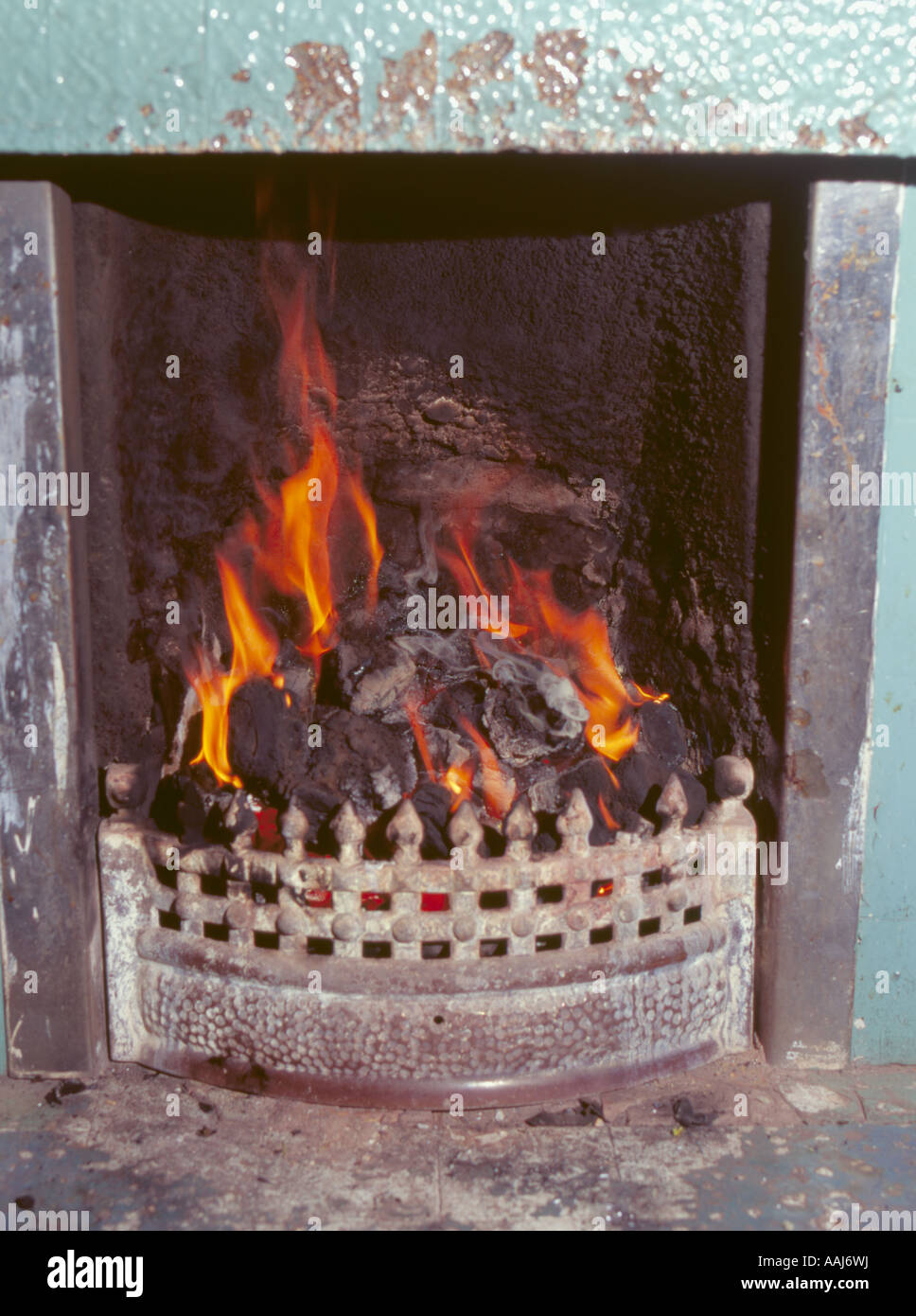 Co2 Emissions By Country >> Open coal fire burning in a grate, Anglesey, North Wales ...