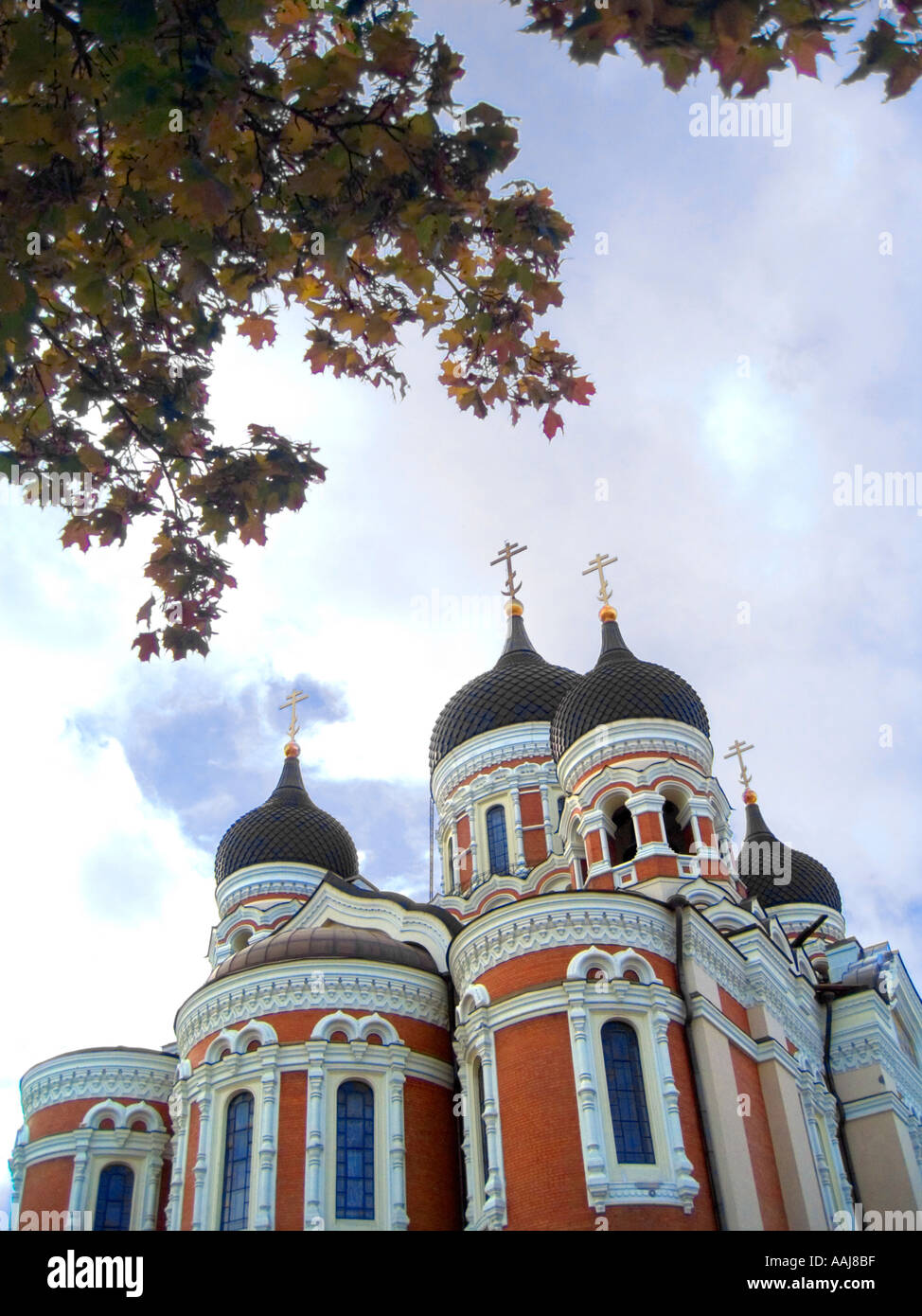 The Russian-orthodox Alexander Nevsky Cathedral in Tallinn, Estonia, was built in Russian revival style 18941900. Stock Photo