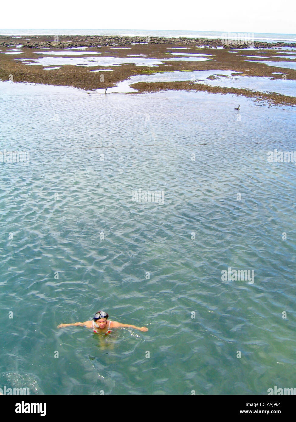 Snorkelling at the ocean pools of Passeio de Barco close to Pirangi south of Natal, Brazil. - Stock Image