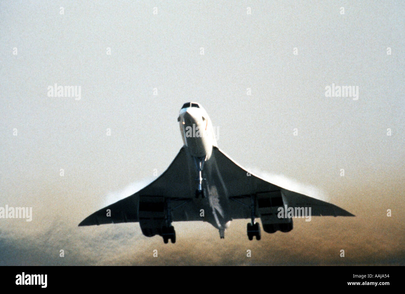 Concorde aircraft taking off from runway - Stock Image