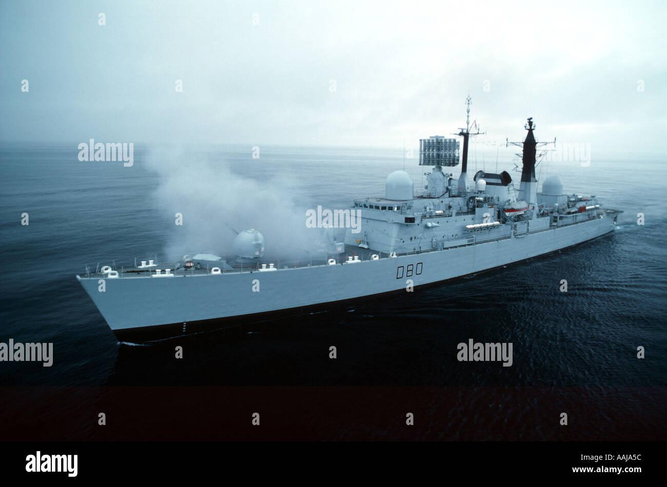 Royal Navy frigate at sea - Stock Image