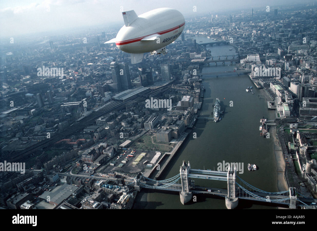 Aerial view of airship over London Stock Photo