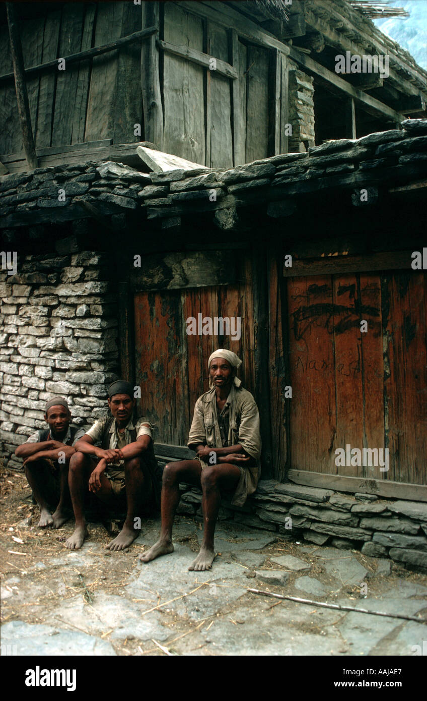 Nepalese porters in the Himalayas - Stock Image