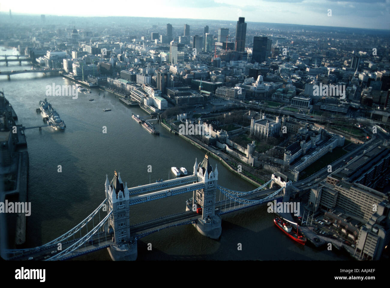 Aerial view of the Thames and Tower Bridge Stock Photo