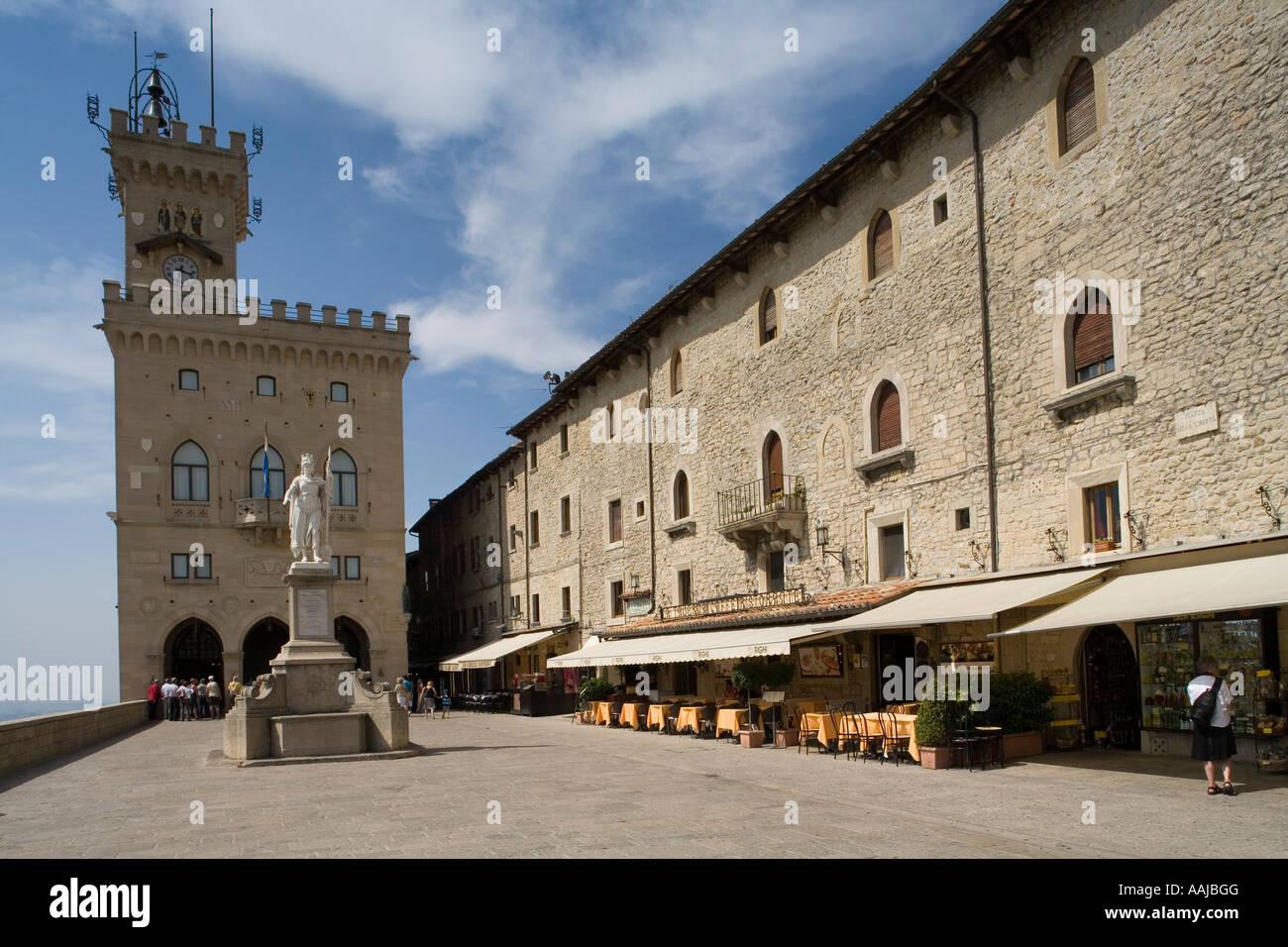 Piazza della Liberta Palazzo Pubblico Republic of San Marino - Stock Image