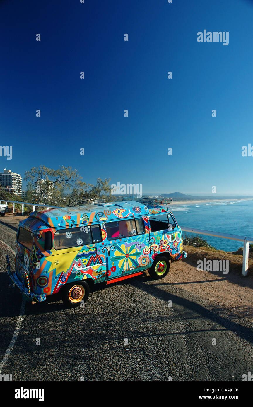 Ultimate escape machine on surfing safari VW Kombi Van dsc 1614 - Stock Image