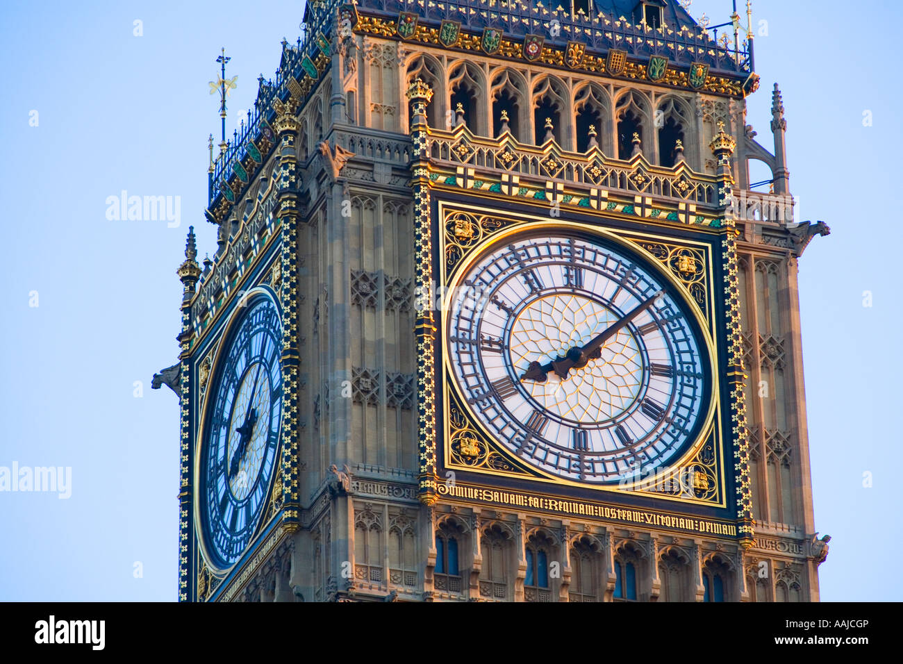 Close up view of Big Ben clock face summer evening London 08:12 architect Charles Barry - Stock Image