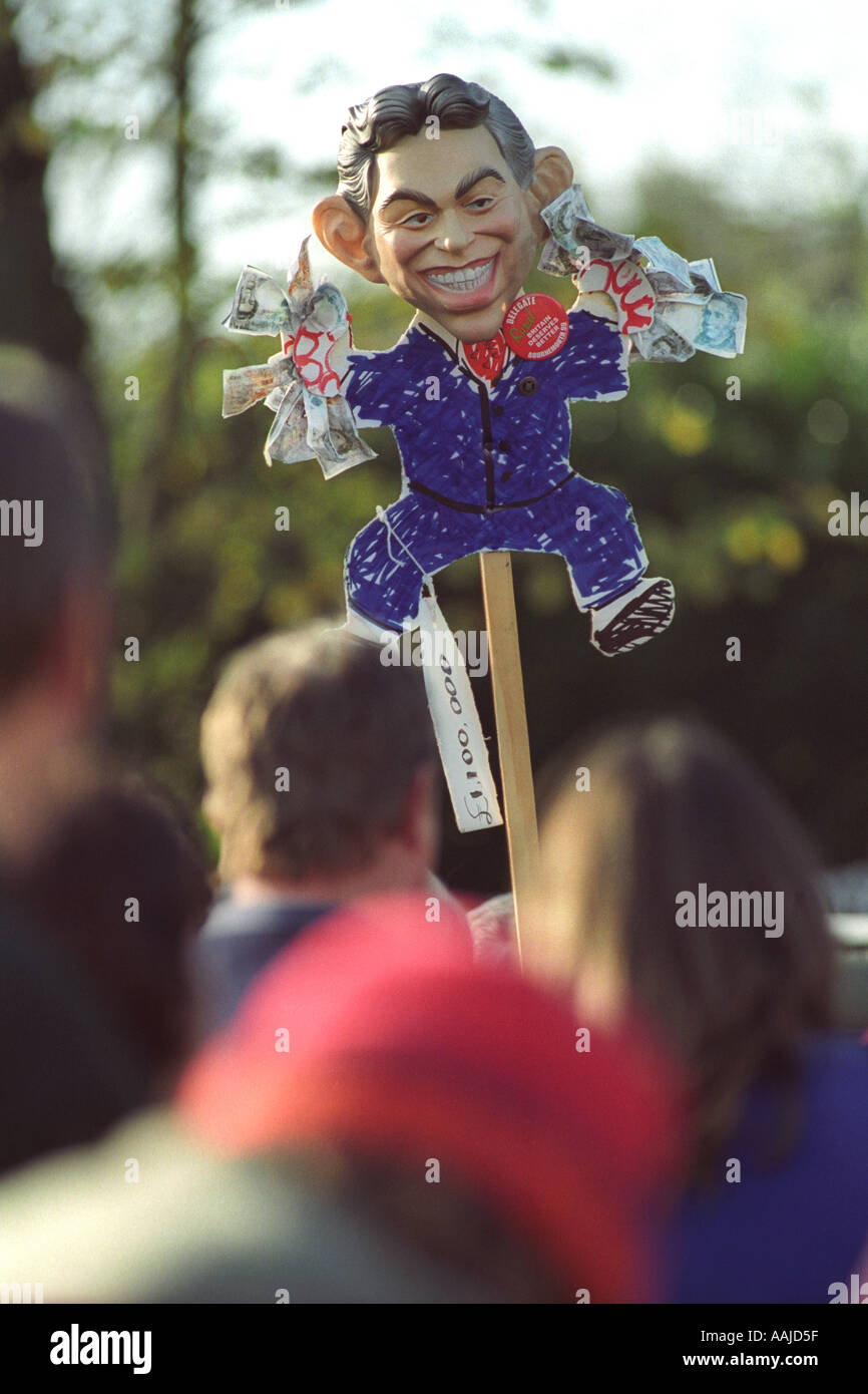 Effigy of Tony Blair at a rally in support of fox hunting at Coopers Field Cardiff South Wales UK GB - Stock Image