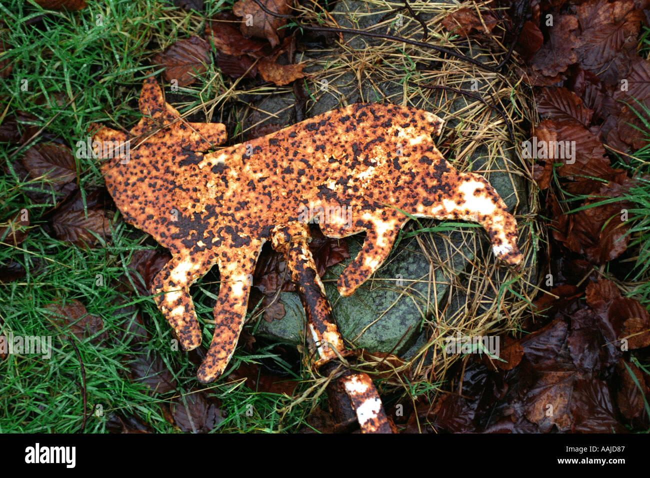 A Fox Profile In Metal The Symbol Of Bedlinog Rfc Glamorgan Wales Uk