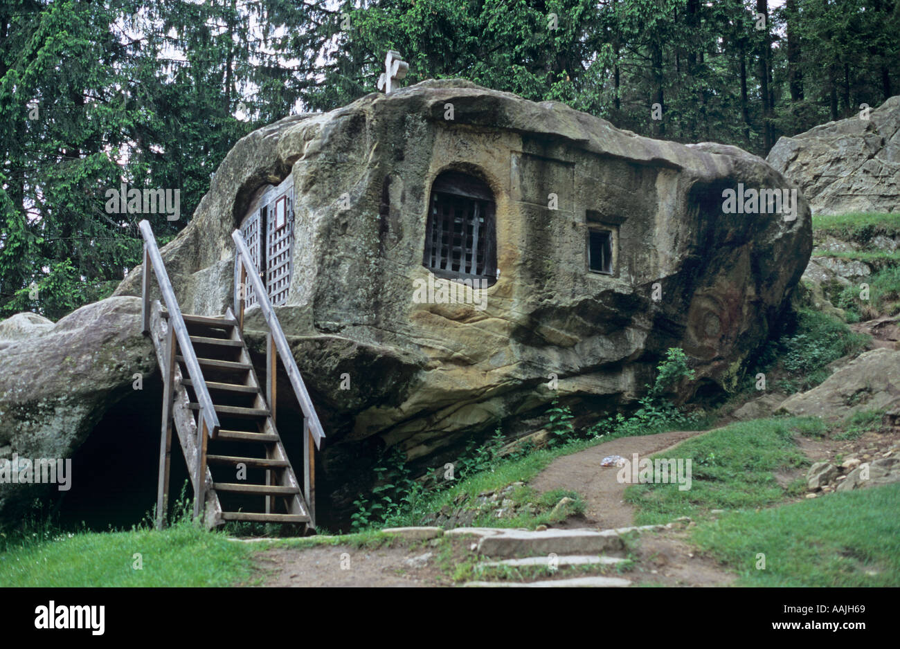 Cell of Daniil the Hermit Putna Romania - Stock Image