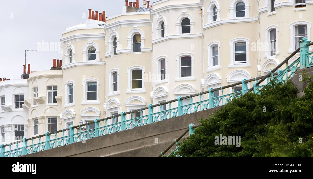 Terraced edwardian or victorian houses Brighton England - Stock Image