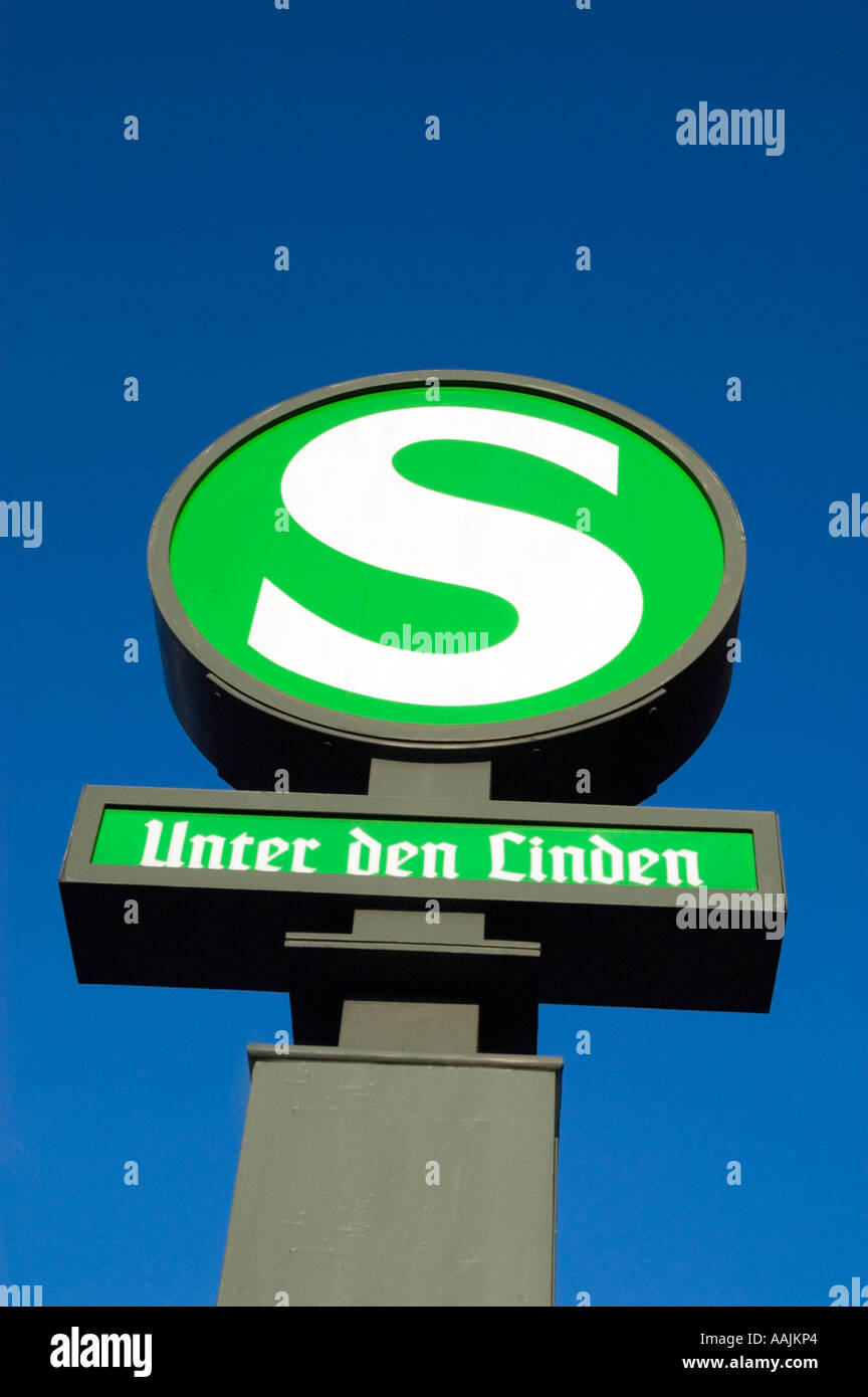 S Bahn sign at Unter den Linden, Berlin Germany Stock Photo