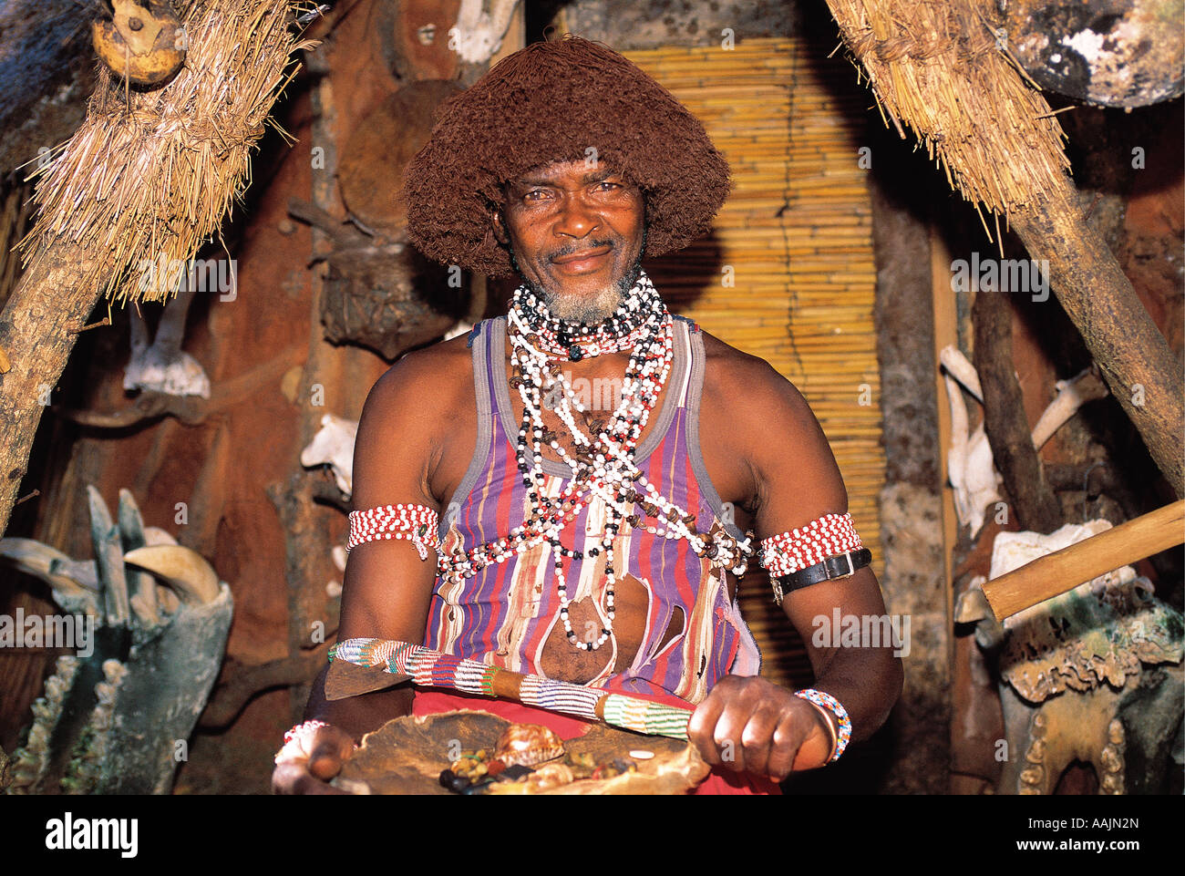 Shangaan sangoma Witch Doctor in Shangaan cultural village
