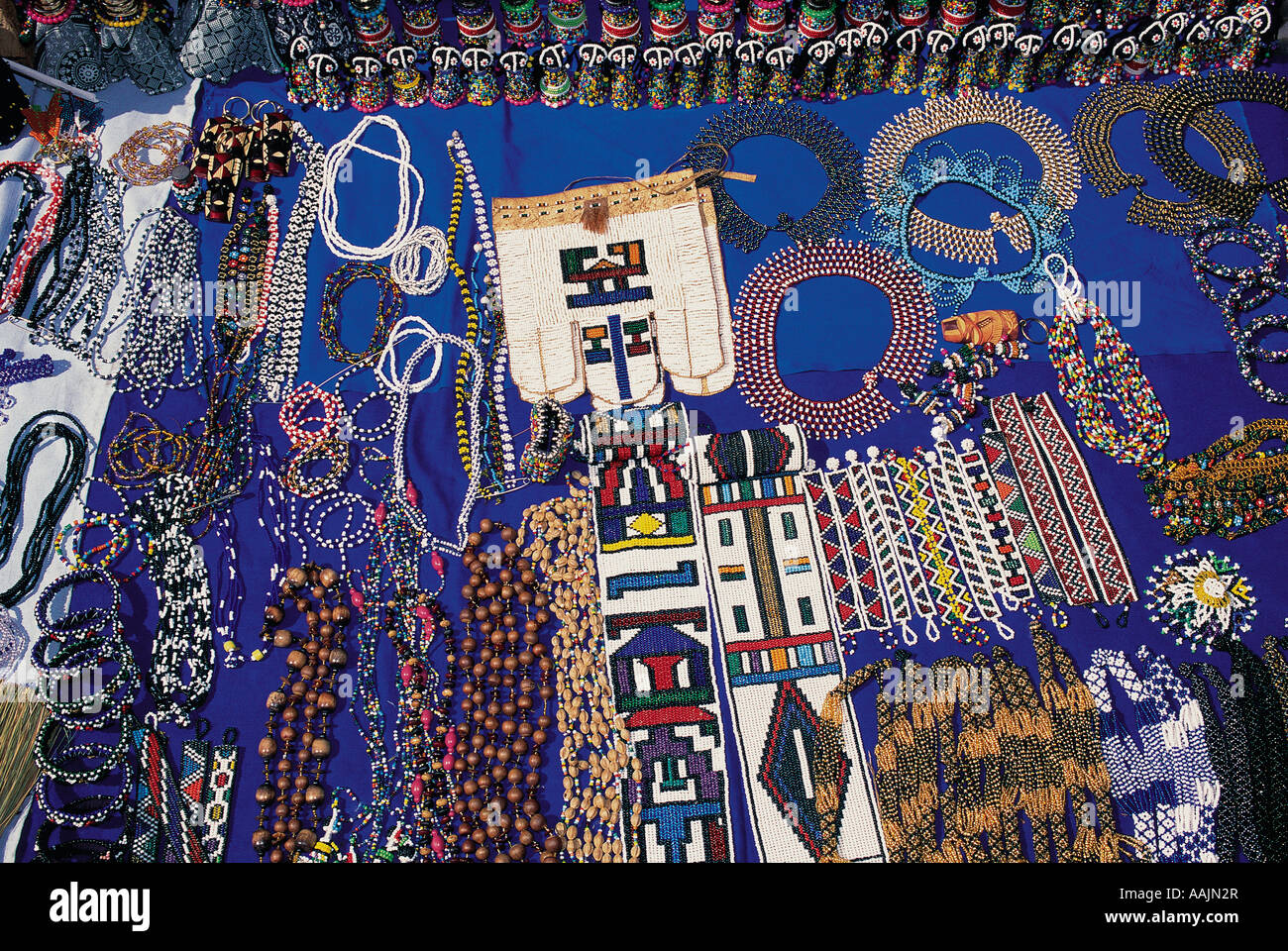 Display of necklaces bracelts and other cultural art work of Black people in Johannesburg Gauteng South Africa - Stock Image