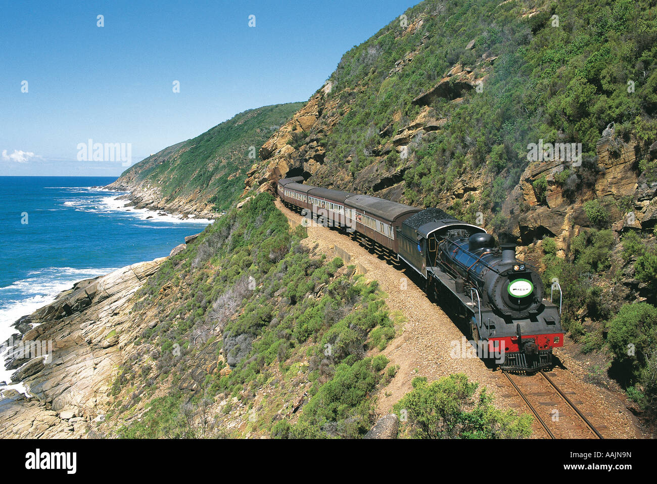 Tourists in steam train along Garden Route Western Cape South Africa - Stock Image