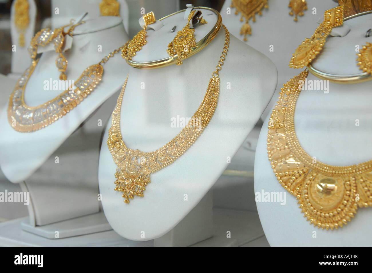 Gold jewellery at souk in Dubai - Stock Image
