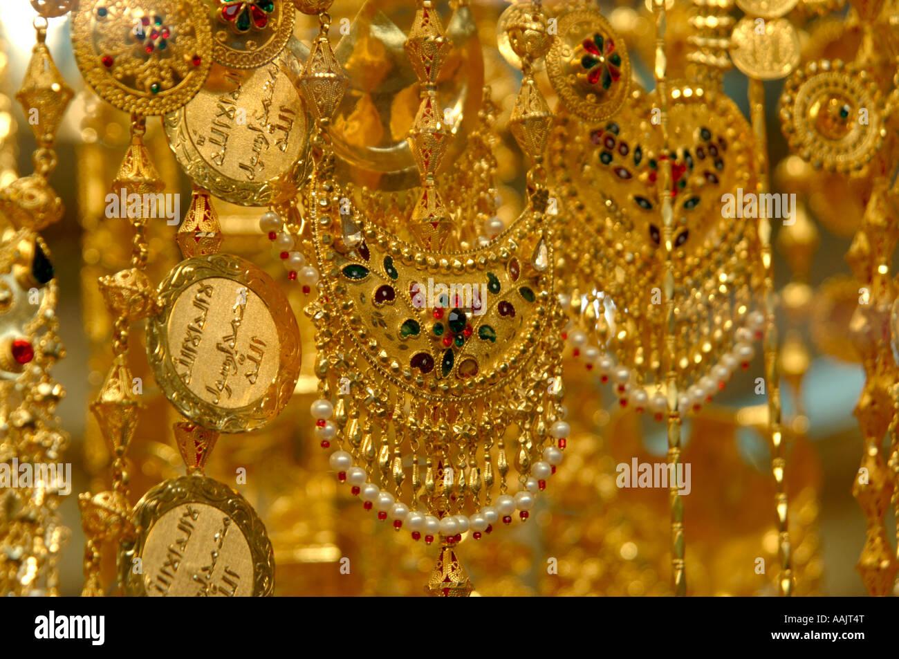 Gold necklaces at Gold souk, Dubai - Stock Image