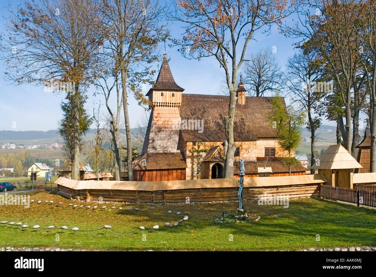 15th Century wooden Church of the Archangel Michael, Debno,Poland. (German: Neudamm), A World Heritage Site - Stock Image